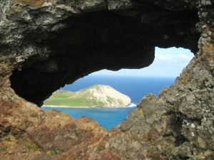 photo of hole in rock over Waimanalo