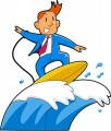businessman in blue suit surfing a wave